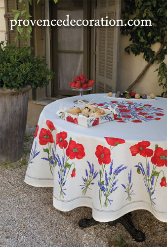 French Round Tablecloth Coated (Coquelicots Lavandes 3 colors)