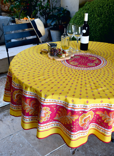Round Tablecloth Coated (Mirabeau. Yellow/red)