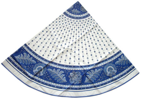Round Tablecloth Coated (Mirabeau. raw/blue)