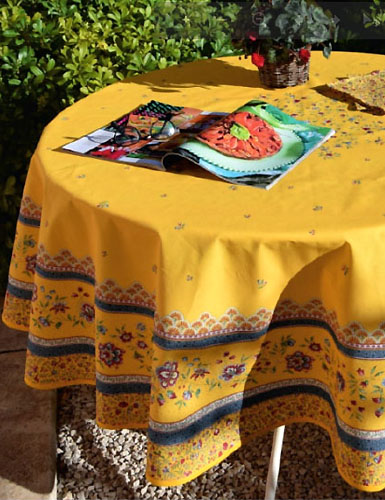 Round Tablecloth Coated (Beaucaire. yellow/blue)