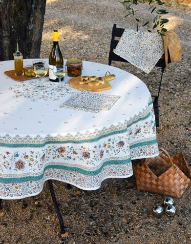 Round Tablecloth Coated (Beaucaire. raw/green)