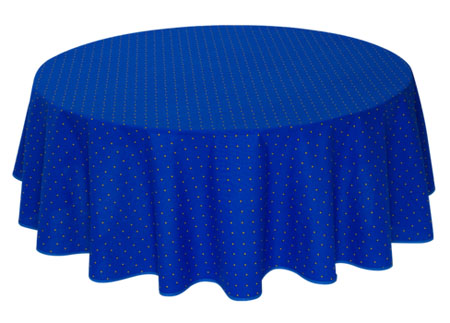 French Round Tablecloth coated (Calissons. blue)