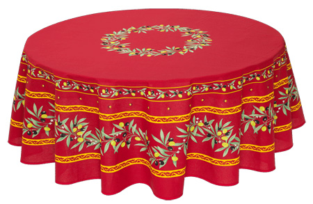 French Round Tablecloth Coated (Ramatuelle. bordeaux)