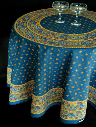 Round Tablecloth Coated (VALDROME / Galon. marine blue)