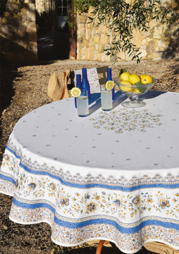 Round Tablecloth Coated (Beaucaire. blue)