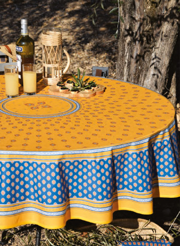 Round Tablecloth Coated (Sormiou. yellow/blue)