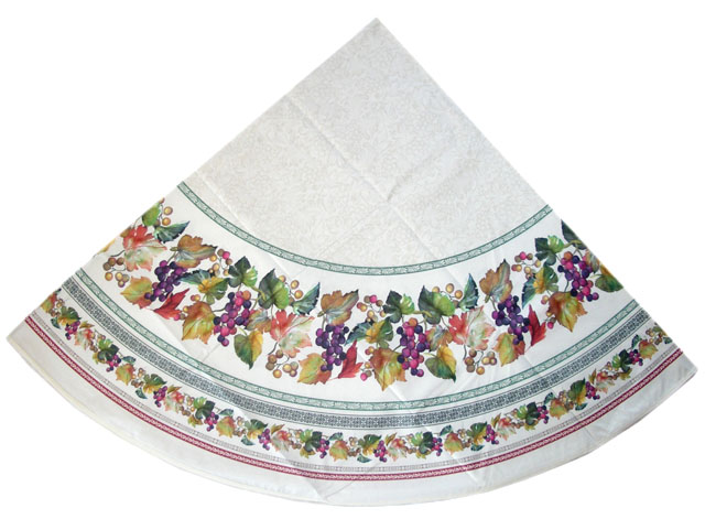 French Round Tablecloth coated or cotton Raisin raw