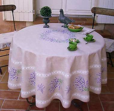 French Round Tablecloth Coated (lavender 2007. natural)