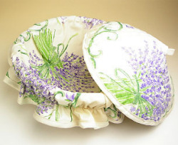 Provencal basket with lid (Lavender. raw)