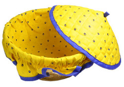 Provencal basket with lid (calissons. yellow x blue)