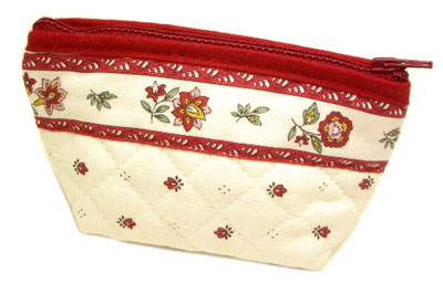 Provencal fabric coin purse (Calisson. white x bordeaux)