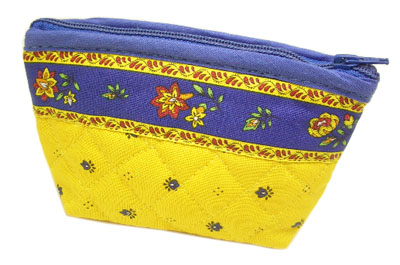 Provencal fabric coin purse (calissons. yellow x blue)