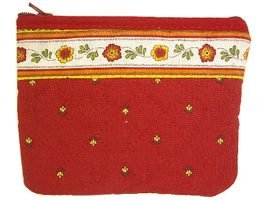 Provencal fabric coin purse (Calissons Fleurette. red)