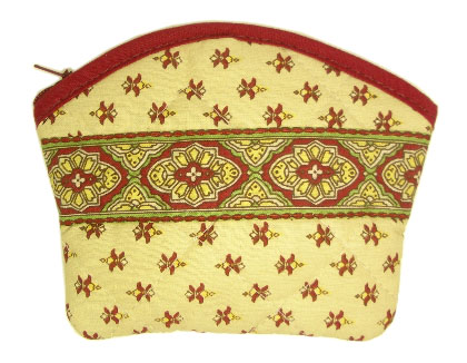 Provencal fabric coin purse (St Remy. beige/bordeaux)