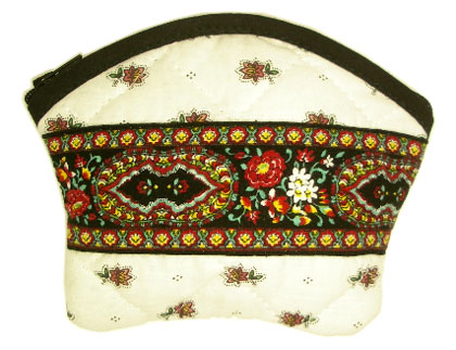 Provencal fabric coin purse (Fleurette. raw black)