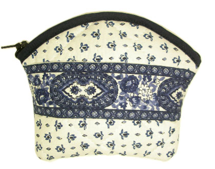 Provencal fabric coin purse (cachemire. raw blue)