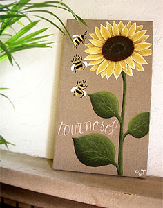 Provencal canvas, linen painting (sunflower & honey bee)