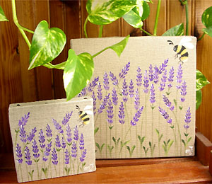 Provencal canvas, linen painting (lavenders & bee)
