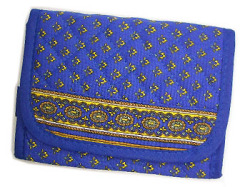 Provencal fabric wallet (Lourmarin. blue × yellow)