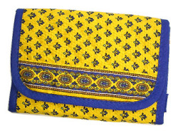 Provencal fabric wallet (Lourmarin. yellow× blue)