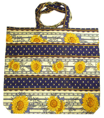 Provence fabric Green shoulder bag - Eco bag (sunflowers. navy)