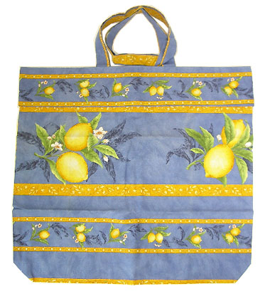 Provence fabric Green shoulder bag - Eco bag (lemons. blue)