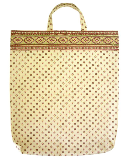 Provence fabric Green bag - Eco bag (St Remy . beige/bordeaux)