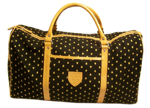 VALDROME Leather Traveling Bag (manade ,black x yellow)