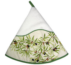 Hand - face round towel (Olives. white x raw)