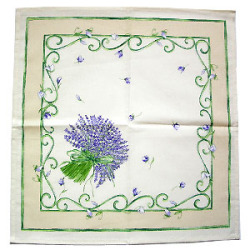 Provence print fabric tea towel (lavender. beige x purple)