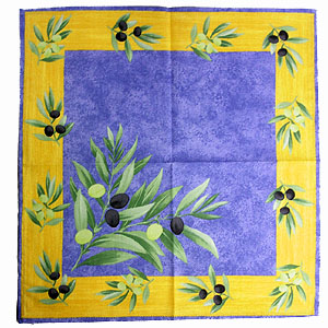Provence print fabric tea towel (olives. blue x yellow)