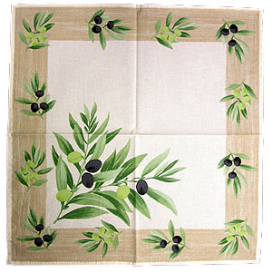 Provence print fabric tea towel (olives. raw x beige)