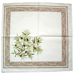 Provence print fabric tea towel (olives. white x beige)