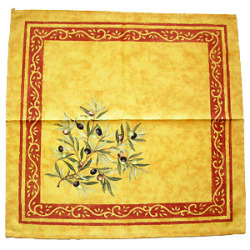 Provence print fabric tea towel (olives. yellow x red)