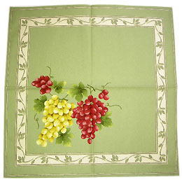 Provence print fabric tea towel (grapes. green)