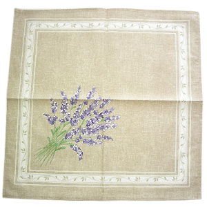 Provence print fabric tea towel (lavender. natural linen effect)