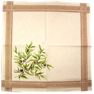 Provence print fabric tea towel (olive2009. raw)