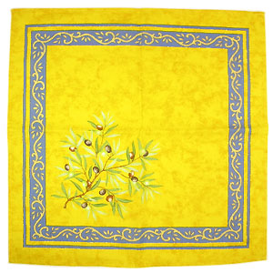 Provence print fabric tea towel (olives. yellow x blue)