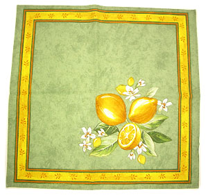 Provence print fabric tea towel (Lemons. small flowers x green)