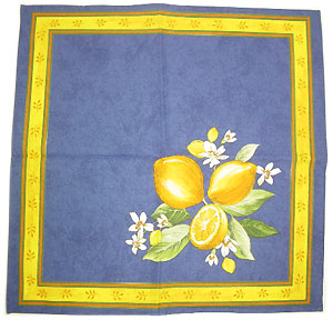 Provence print fabric tea towel (Lemons. small flowers x blue)