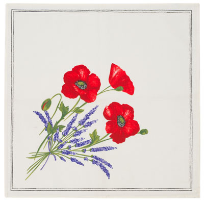 Provence print fabric tea towel (Coquelicots Lavandes. raw