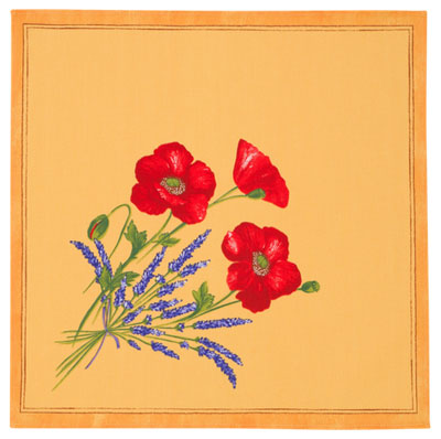 Provence print fabric tea towel (Coquelicots Lavandes.yellow)
