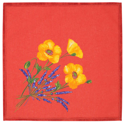 Provence print fabric tea towel (Coquelicots Lavandes.red)