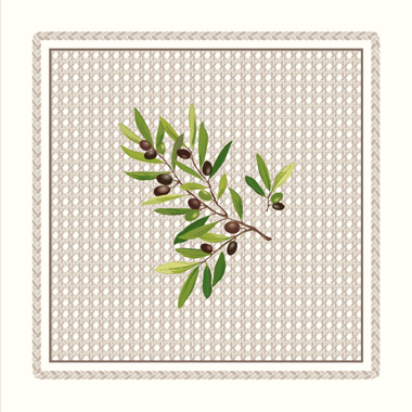 Provence print fabric tea towel (Nyons. raw)