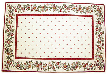 Provence Tea mat, (calisson flowers, white x bordeaux)