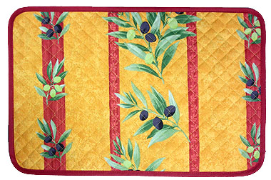Provence quilted Placemat, non coated (olives stripes. orange)
