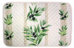 Provence quilted Placemat, non coated (olives stripes. raw)