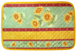 Provence quilted Placemat, non coated (sunflowers. green)
