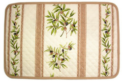 Provence quilted Placemat, coated (olives. white x beige)