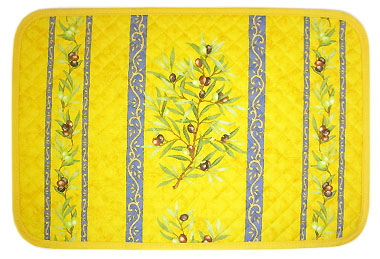 Provence quilted Placemat, coated (olives 2005. yellow / blue)
